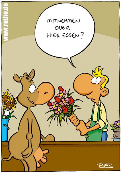 Blumen mitnehmen oder hier essen